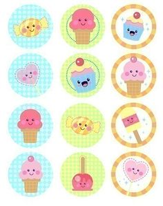 Cupcake Toppers Kawaii Sweets or favor tags and Scrapbooking Collage Sheet-Printable PDF 0001. $3.00, via Etsy.