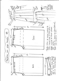 Esquema de modelaje de pantalon com pregas tamanho 54.