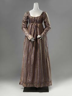 Dress, ca. 1815; Rijksmuseum BK-1995-13-A Silk in brown and blue stripe front closure  linen drawstring at neck and waist
