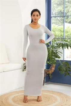 2019 Spring Autumn Women New Long Sleeve O Neck Solid Slim Long Dress Casual Simple High Stretchy Bodycon Package Hip Maxi Dress Long Sleeve Maxi, Maxi Dress With Sleeves, Sleeve Dresses, Sexy Dresses, Casual Dresses, Summer Dresses, Club Dresses, Satin Dresses, Neon Green Dresses