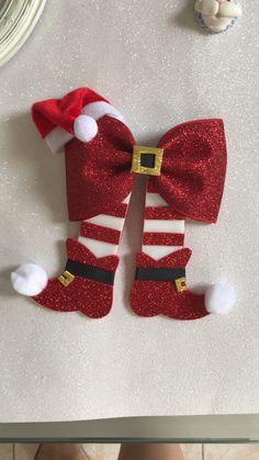 Ornament Template, Bow Template, Homemade Christmas Decorations, Christmas Crafts, Christmas Ornaments, Ribbon Art, Diy Ribbon, Diy Hair Bows, Diy Bow