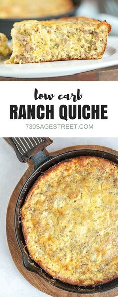 This low carb ranch breakfast quiche is delicious and easy to make. #lowcarb #keto #easy #breakfast #casserole #quiche