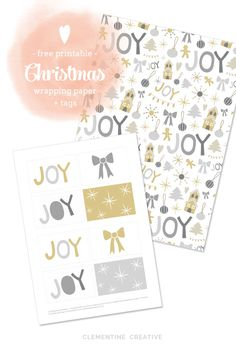 Free Printable Christmas Wrapping Paper and Tags I thought it was about time for a new Christmas freebie, so here it is: free wrapping paper and gift tags. The wrapping paper is made up of a fun pattern hand-drawn by me. Christmas Fonts, Christmas Stencils, Free Christmas Printables, Christmas Wrapping, Free Printables, Project Life Freebies, Digital Paper Free, Winter Crafts For Kids, Scrapbook Templates