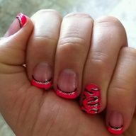 Hot pink, black, silver glitter nail stripers! Pink zebra nail design on the ring finger