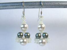 Swarovski Pearl Earrings White Earrings Sage by IrisElmJewelry, $22.50