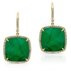 14kt Yellow Gold Emerald Diamond Large Cushion Cut Earrings ($2,120) ❤ liked on Polyvore featuring jewelry, earrings, gold emerald jewelry, gold diamond earrings, gold earrings, gold jewellery and gold jewelry