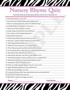 Instant Download - Printable Nursery Rhyme Quiz Pink Zebra Baby Shower Game PDF on Etsy, $2.50