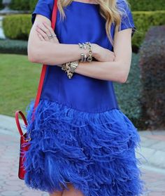 feathers and pretty blue with a pop of red.