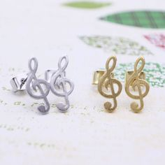 6b9d5d92b650 Treble clef earrings with sterling silver post silver by shyshiny