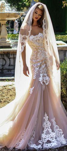 beautiful mermaid wedding dresses full embellishment short sleeves chapel train #weddingdress #laceweddingdress #weddinggown #weddingdresses
