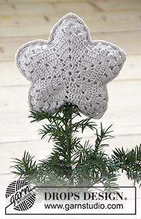 0-1208 Top That! - Free crochet Christmas Tree Star topper pattern from Drops Design.