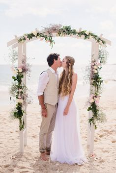 DIY flower pergola Altar   Boho Beach Wedding in Portugal   Bridal Separates   Mis-Match Pastel Bridesmaid Dresses   Save The Date Tea Towels   Faye Cornhill Photography   http://www.rockmywedding.co.uk/kyria-kevin/