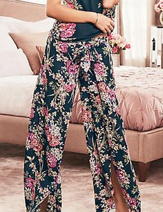 Thai Rose Print Pyjama Bottoms
