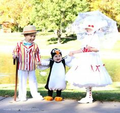 Mary Poppins: How sweet are these costumes for your little ones! Get the tutorial for this Mary Poppins, Bert, and Jolly Holiday Penguin group costume. Great for siblings!