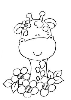 giraffe doodle would make a cute applique Giraffe Coloring Pages, Coloring Book Pages, Printable Coloring Pages, Coloring Sheets, Hand Embroidery, Embroidery Designs, Applique Patterns, Digital Stamps, Coloring For Kids