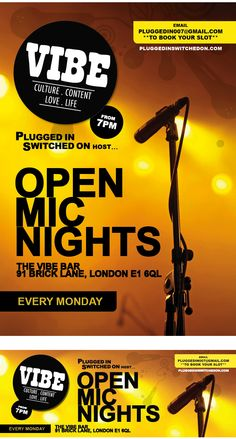 Vibe Bar Poster Art 'OPEN MIC NIGHTS'