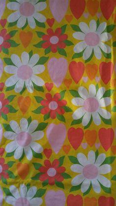 vintage retro fieldcrest perfection percale full flat sheet mod flower hearts
