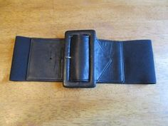 Vintage-NORMA-KAMALI-80-039-S-wide-elastic-BLACK-belt-size-S-M