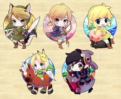 Different Links Twilight Princess, Breath of the Wild, Wind Waker, Majora's Mask, A Link between Worlds