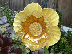 Plate Flower #511  Drought Resistant.        Garden Yard Art glass and ceramic plate flower