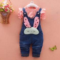 13.01$  Watch here - http://alinqf.shopchina.info/go.php?t=32591321559 - spring Autumn Baby Girls Letter T-Shirt + Denim Jeans Rabbit Overalls Pants Two Pieces Suits Kids Clothing suits for girls sets  #SHOPPING