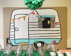 MaryJanes and Galoshes: Camping Party Camper Decoration Tutorial Camping Parties, Camping Theme, Camping Life, School Themes, Classroom Themes, School Ideas, Pta School, School Daze, Woodland Theme