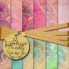 12 Vintage Paisley Pattern Digital Papers Pack - Purple Blue Green (paper crafts,card making,scrapbooking)