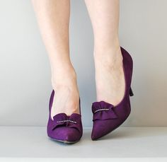 Gorgeous violet suede heels by DearGolden on Etsy!
