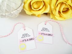 Elephant Baby Girl Shower Tag/Girl Baby Shower Tag/Thank You Tag/Gift Tag/Pink Baby Tag/Baby Girl Tag/It's a Girl Baby Tag/New Baby Girl Tag