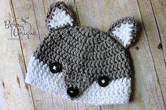 Grey Fox Hat  Crochet  Knit  Silver Fox  by BerryUniqueCreations, $19.00