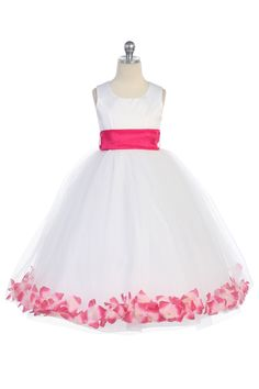 Hot Pink Satin & Tulle Flower Girl Dress with Petals & Sash G2570 $39.95 on www.GirlsDressLine.Com