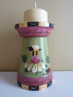 Hand Painted Terra Cotta Candle Holder - Primitive Folk Art Whimsical Bee, Flower and Ladybug