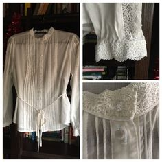 Gorgeous 100% Cotton Georgian Blouse Beautiful Eileen West white cotton blouse with super feminine details- hand sewn lace collar and lace detail along both sleeves and cuffs, satin ribbon tie belt, tuxedo pleating, and crystal like ball buttons. Made in the USA. NWT. Eileen West Tops Blouses