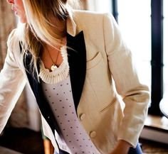 i am kind of in love...the polka dots, the fem pleats and the blazer!!