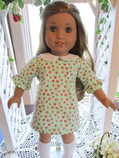 """70's Doll Dress to fit your 18"""" American Girl Doll in Mint Green Print by Emmakate0 on Etsy"""