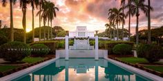 A beautiful sunset seen from the reflecting pools of the Laie Hawaii Temple | LDS Temple Pictures