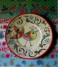Hand Painted Pottery, Slab Pottery, Pottery Painting, Hand Painted Ceramics, Ceramic Painting, Diy Painting, Ceramic Pottery, Ceramic Bird Bath, Ceramic Clay