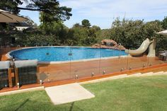 above ground pools with decks wooden deck glass banister garden pool design ideas