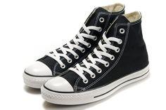 f2fc489bd543 Black Converse High Tops Chuck Taylor All Star Canvas Shoes.