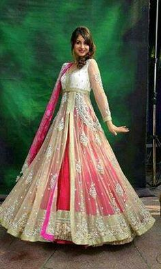 I do love these bridal dresses. They look colorfully beautiful. Get your inspiration from these gorgeous bridal dresses. Above is Pakistani elegant bridal dress with a-line silhouette and floor len… Pakistani Bridal Dresses, Pakistani Outfits, Indian Dresses, Indian Outfits, Wedding Dresses, Indian Frocks, Bridesmaid Dresses, Prom Dresses, Formal Dresses