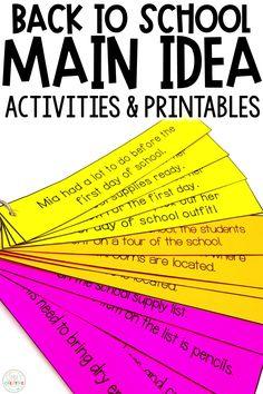 These back to school main idea activities are perfect for first grade and 2nd grade classrooms at the beginning of the year! Finding the main idea and details in a hands on way is always fun for small groups and guided reading! Included are creative back to school puzzles, build a paragraph with topic sentences, worksheets, graphic organizers, and more! Use the organizers with beginning of the year books of your choice, too! Great for nonfiction main idea and main topic units!