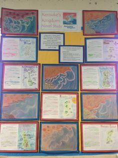 Kensukes kingdom. Text marking to create map of island and Hokusai the wave art