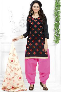 #Andaazfashion presents Black Cotton Patiala Suit With Embroidered Dupatta  http://www.andaazfashion.fr/salwar-kameez/patiala-suits/black-cotton-patiala-suit-with-embroidered-dupatta-dmv13764.html