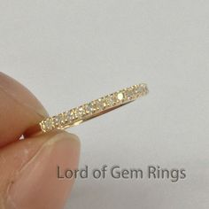 French Pave .21ct H/SI Diamonds 14K Yellow Gold Wedding Band Half Eternity Ring