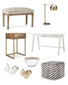 Target home decor white and gold