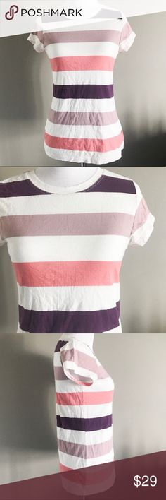 Anthropologie Pilcro & the Letterpress Striped Tee Super cute striped tee from Anthro brand, Pilcro and the Letterpress. Only reason I'm parting with this adorable top is because I need a medium. Purple/pink stripes. Size small and excellent pre-loved condition. Anthropologie Tops Tees - Short Sleeve