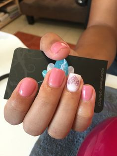 Acrylic nails, Nails art, pink nails
