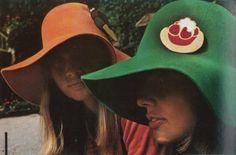 Models wearing hats for Vogue Paris, October 1970.