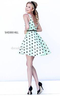 Taffeta Sherri Hill 32238 Green Black Homecoming Dress 2015