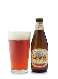 Anchor IPA ~ Earthy, grassy hops accent a soft, bready bouquet. Slightly toasted bread carries an intriguing mélange of dried grass and jammy red fruit notes; faint orange underscores the sip. Hop bitterness builds into the swallow for a sudden, sharp finish that overshadows compelling hop flavors.